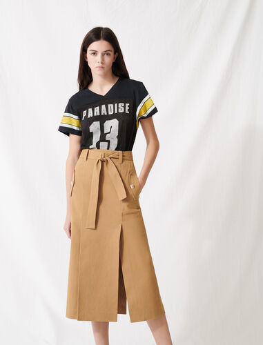 Camel skirt with inlaid belt : Skirts color Camel