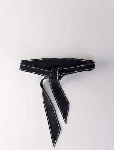 撞色明线装饰皮腰带 : null 顏色 黑色/BLACK