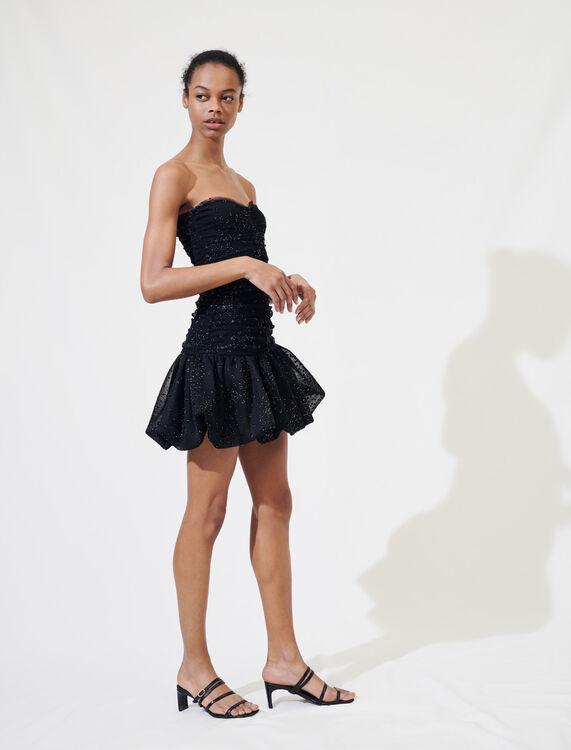 Bustier skater dress, lurex polka dots : Dresses color Black