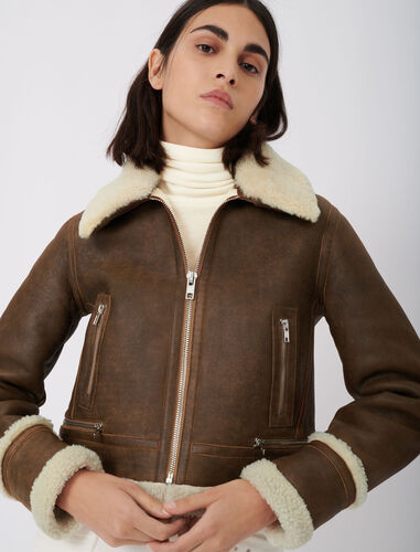 Leather and fur-effect jacket : Coats & Jackets color Brown