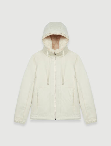 Jacket with hood in fur-effect : Coats & Jackets color Ecru