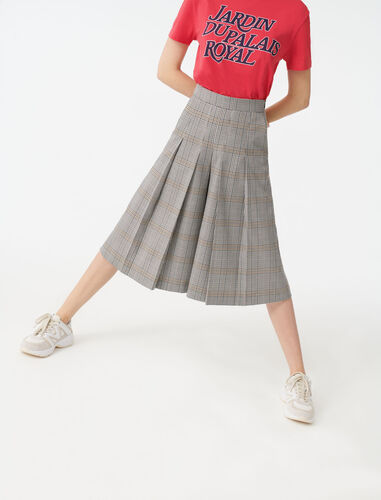Checked Bermuda-style trousers : Trousers color Grey