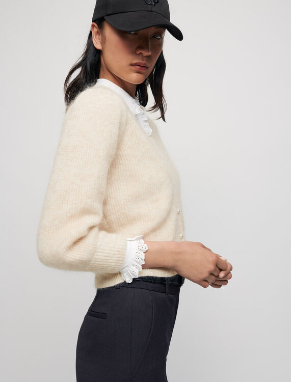 Mohair cardigan with pearl buttons - Sweaters & Cardigans - MAJE
