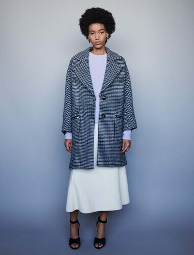 Plaid coat with zipped pockets : Overcoat color Blue