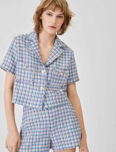 短袖粗花呢夹克 : 休闲西装 顏色 多色/MULTI-COLOR