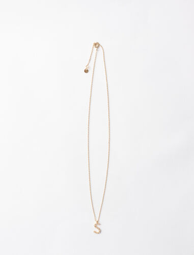 字母s水钻装饰项链 : 首饰 顏色 金色/GOLD