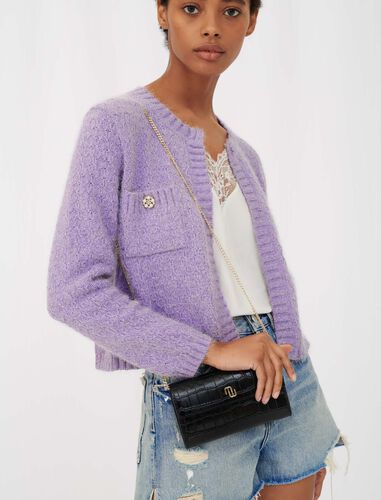 Lurex cardigan with jewel buttons : Cardigans color Parma Violet