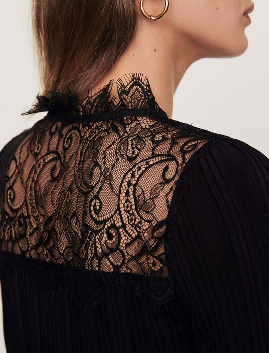 Pleated top with lace trim : Tops color Black