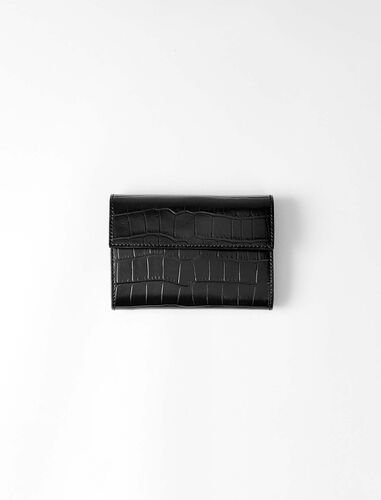 Crocodile embossed-leather wallet : Small leather goods color Black