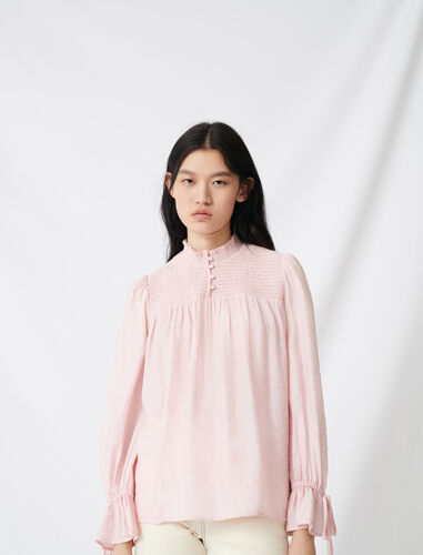 Smocked blouse with puff sleeves : Shirts color Pink