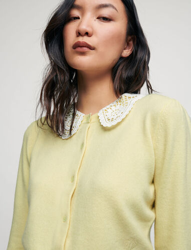 Cashmere cardigan with guipure collar : Cardigans color Yellow