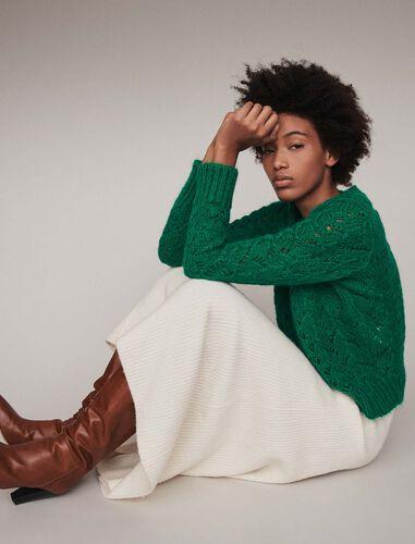 Fancy knit sweater : Sweaters color Green