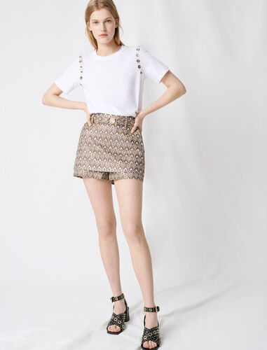 Jacquard shorts with removable belt : Shorts color Gold