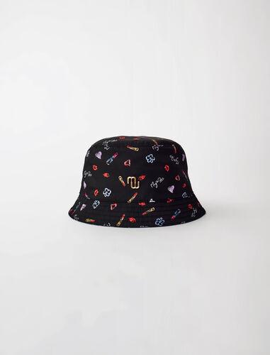 印花尼龙太阳帽 : 其他配饰 顏色 黑色印花/black red