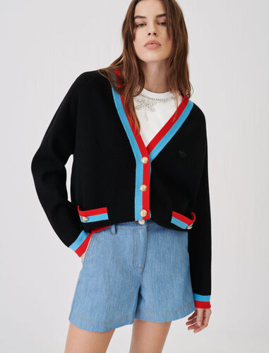 Cardigan with contrasting bands : Cardigans color Black
