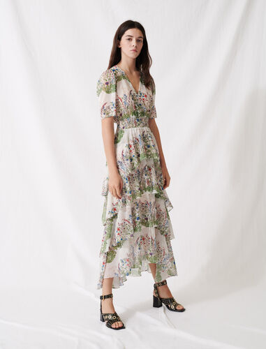 Ruffled printed muslin dress : Dresses color Ecru / Green