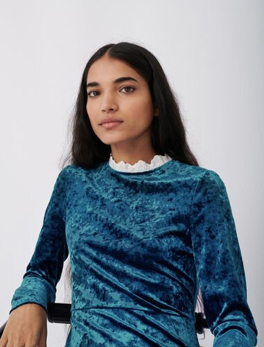 天鹅绒花边连衣裙 : 连衣裙 顏色 蓝色/BLUE