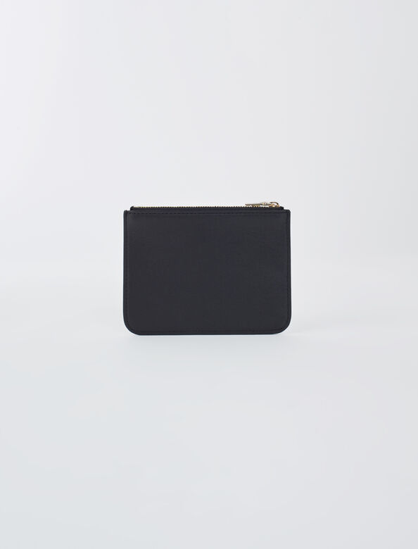 Zip-up embossed leather pouch : Other Accessories color Black