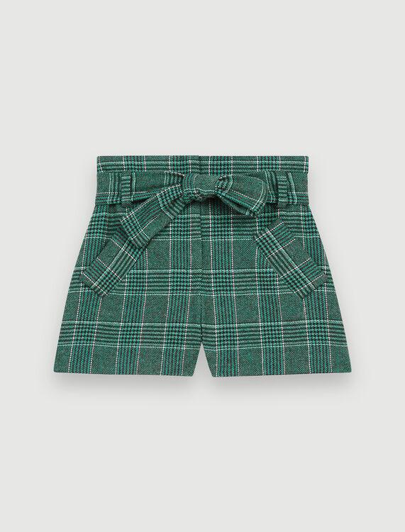 Belted, checked shorts - Skirts & Shorts - MAJE