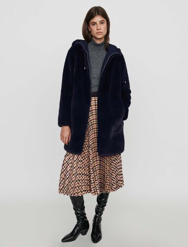Hooded faux fur jacket : Overcoat color Blue