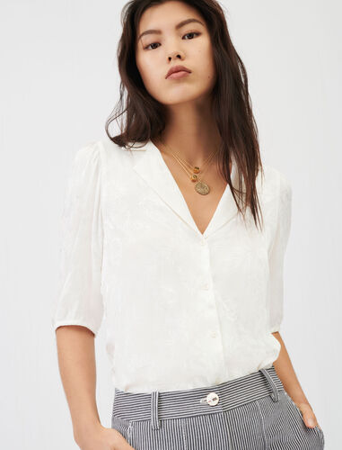 Flowing jacquard shirt : Shirts color Ecru