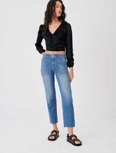 Jeans with topstitched pockets : Jeans color Blue