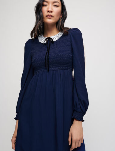 Smocked dress with guipure collar : Dresses color Navy