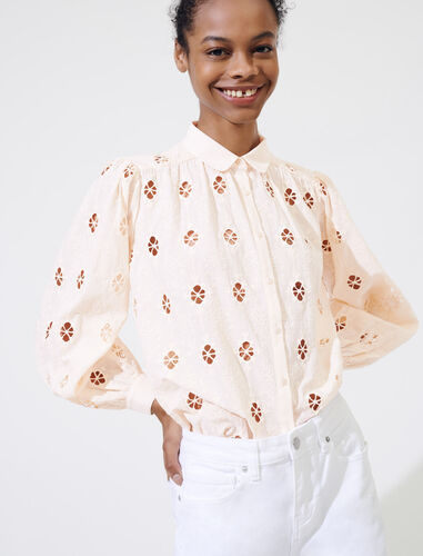 Broderie anglaise shirt : Shirts color Nude