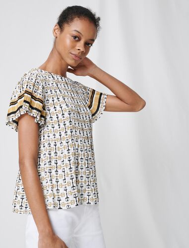 Pleated tunic with preppy print : T-Shirts color White / Black