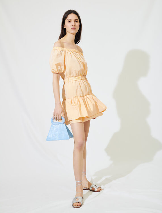 Elasticated taffeta A-line dress : Dresses color Orange