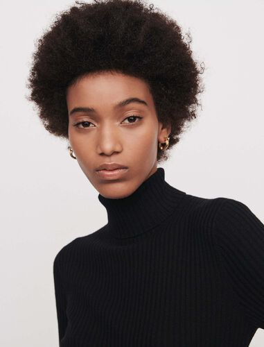 Light ribbed turtleneck sweater : Sweaters color Grey