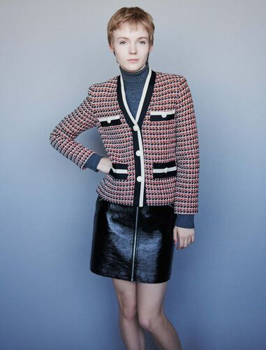 Contrast tweed-style jacket : Coats & Jackets color Red