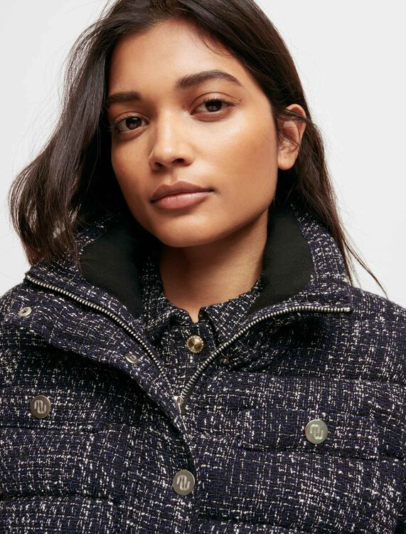 Belted tweed-style down jacket - Coats & Jackets - MAJE