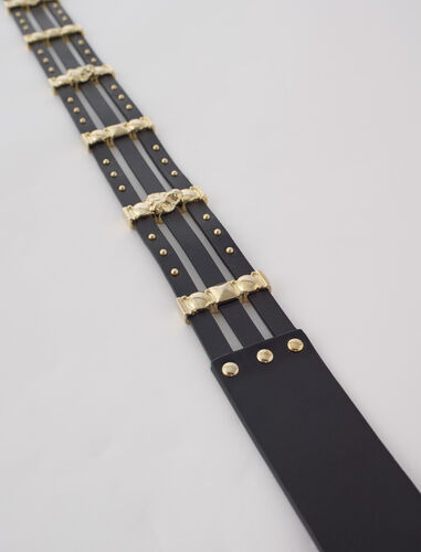 Leather belt with gold-tone details : Belts color Black