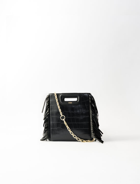 Crocodile-effect leather Mini M bag : M Mini color Black