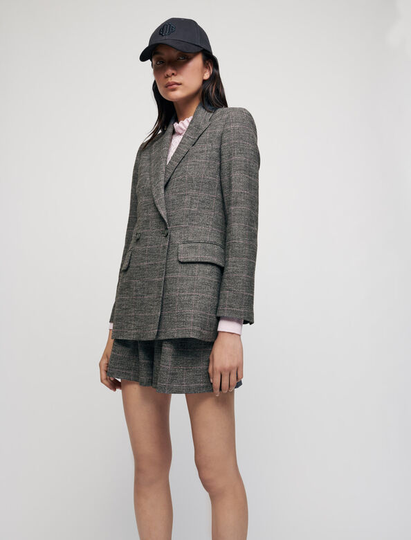 Slightly fitted checked jacket : Blazers color Grey