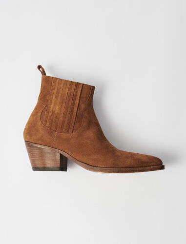Suede Cowboy Boots : Boots & Flat shoes color Camel