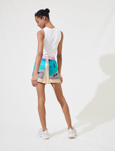 Printed satin sports shorts : Shorts color Blue/Yellow