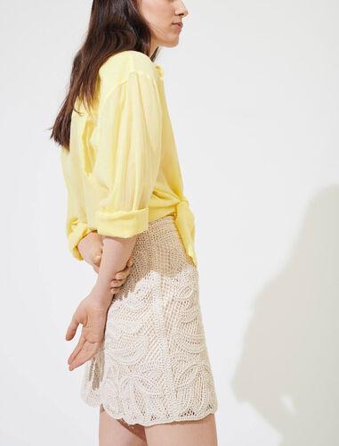 Macramé-style straight-cut skirt : Skirts color Beige
