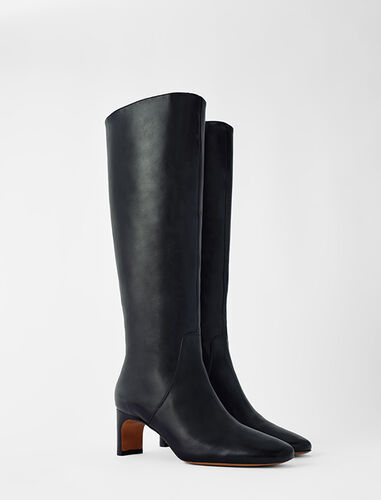 Leather mid heel boots : Shoes color Black