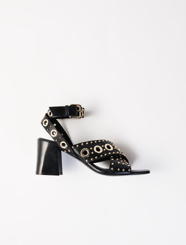 Heeled studded sandals : Boots & Flat shoes color Black