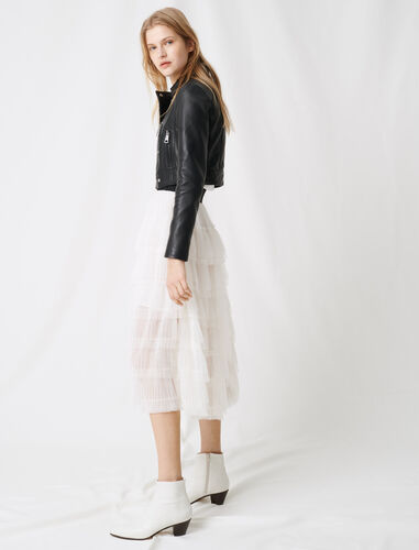 White tulle midi skirt : Skirts color White