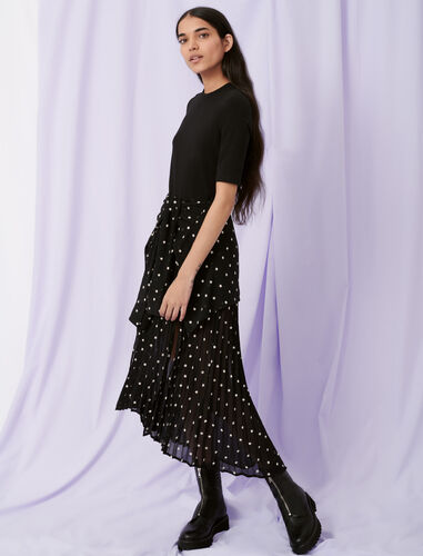 Trompe-l'œil shirt dress : Dresses color Black / White