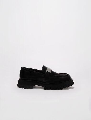 Leather platform loafers : Pumps & Sandals color Black