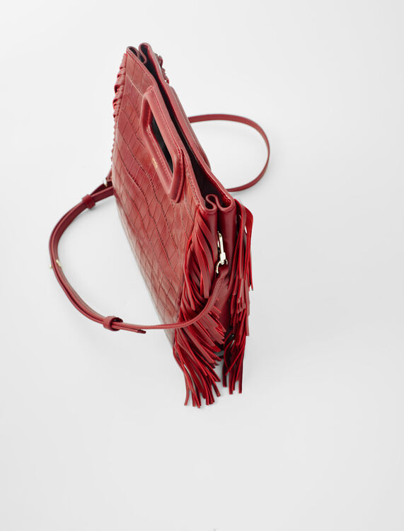 Embossed leather pyramid handle bag : M Bag color Carmine red