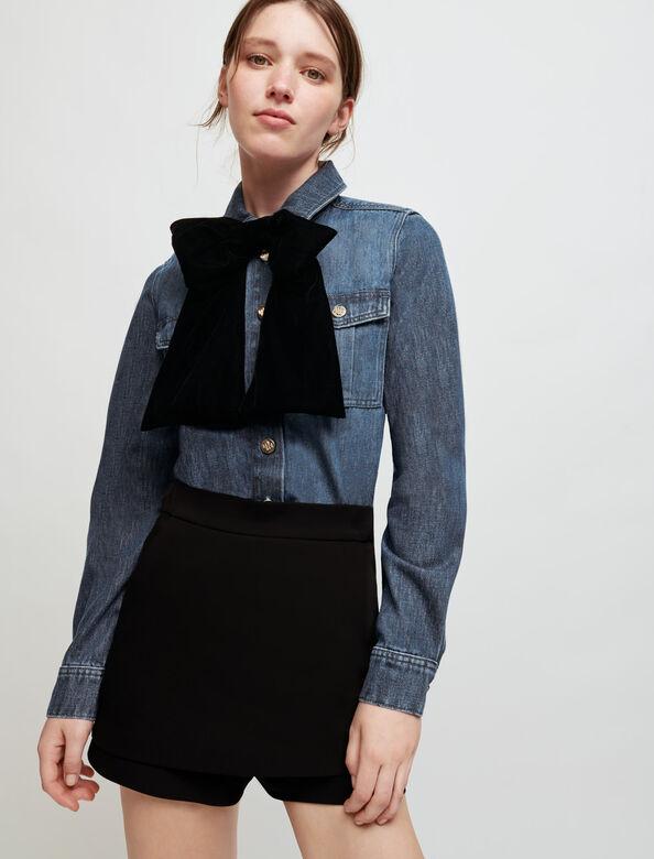 Denim shirt with velvet bow : Shirts color Blue