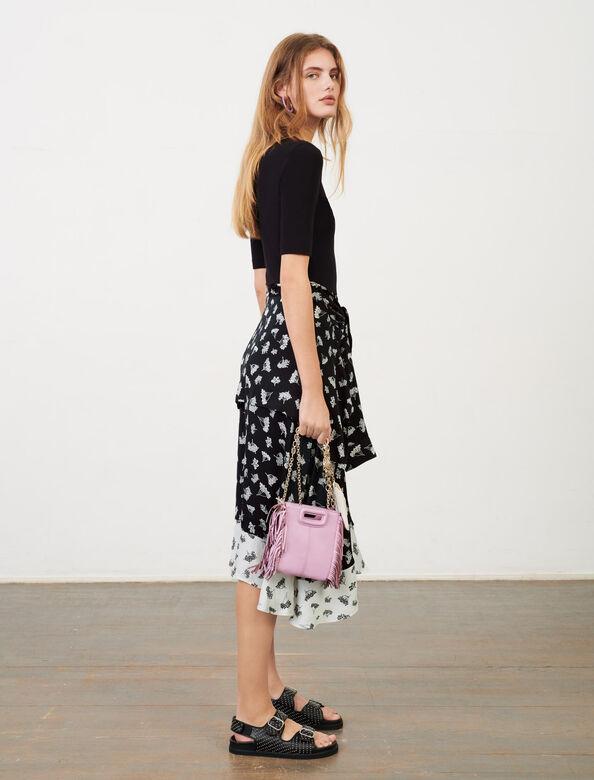 Trompe l'œil printed satin dress : Dresses color Black/White