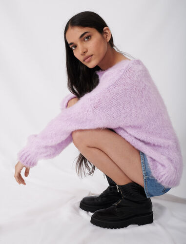 Fluffy knit oversize sweater : Sweaters color Parma Violet