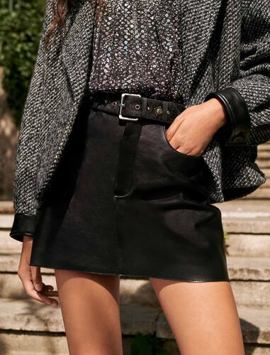 Leather skirt with fancy belt : Skirts color Black