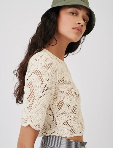 Macramé-style cropped top : Tops color Beige